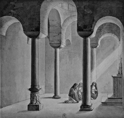 F. L. Catel, veduta interna della Cattolica di Stilo, Parigi, (© BnF) – RIASA 66, 2011, p. 222, f. 3